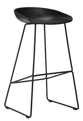 Furniture - Bar Stools - About a stool AAS 38 Bar stool - H 65 cm - Steel sled base by Hay - Black - Polypropylene, Steel