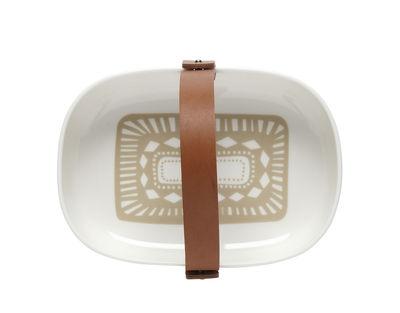 Tableware - Serving Plates - Svaale Basket - /20 x 13 cm - Removable leather handle by Marimekko - White & beige pattern - Leather, Sandstone