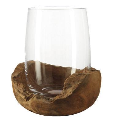 Decoration - Candles & Candle Holders - Candle holder - Teak base - H 27 cm by Leonardo - Transparent / Wood - Glass, Teak