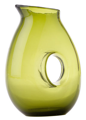Carafe Jug with hole / 1 Litre - Pols Potten vert mousse en verre