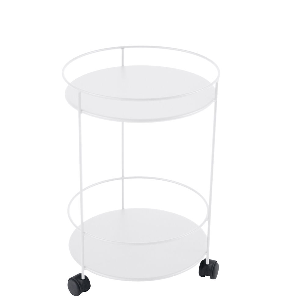 Arredamento - Tavolini  - Carrello Guinguette - / con ruote - Ø 40 x H 62 cm di Fermob - Bianco cotone - Acciaio laccato