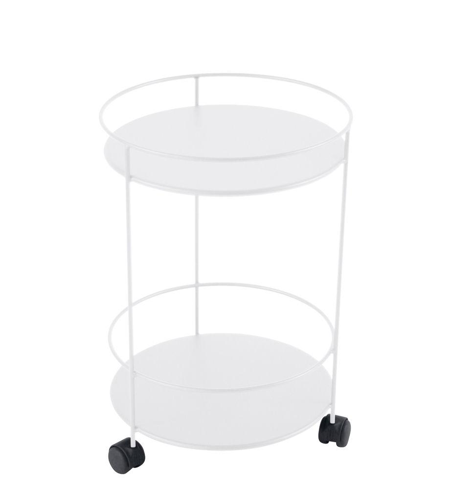 Mobilier - Tables basses - Chariot Guinguette /Ø 40 x H 62 cm - Fermob - Blanc coton - Acier laqué