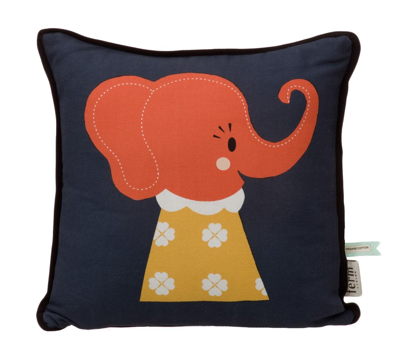 Decoration - Children's Home Accessories - Elle Elephant Cushion by Ferm Living - Orange, red & white / Brown background - Cotton