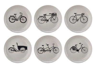 Tableware - Plates - Bikes Dessert plate - / Ø 20 cm - Set of 6 by Pols Potten - Black, white & silver - Vitrified porcelain