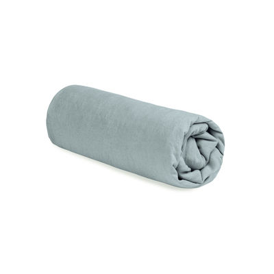 Drap-housse 180 x 200 cm / Lin lavé - Au Printemps Paris bleu-gris en tissu