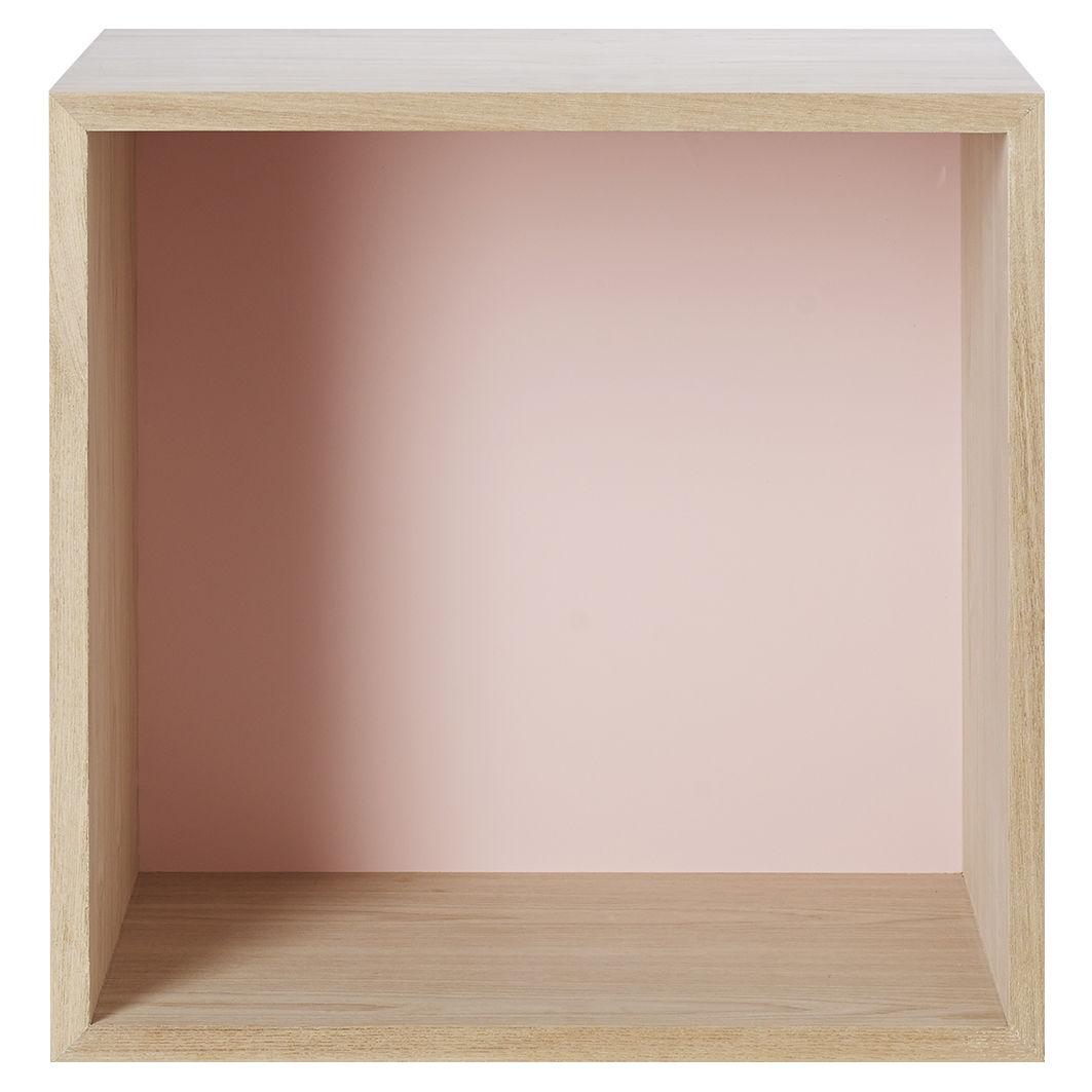 Mobilier - Etagères & bibliothèques - Etagère Stacked / Medium carré 43x43 cm / Avec fond coloré - Muuto - Frêne / Fond rose pâle - MDF finition frêne