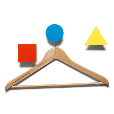 Furniture - Coat Racks & Pegs - Bauhaus Hook - 3 coat-pegs by Domestic - Yellow, red & blue - Lacquered aluminium