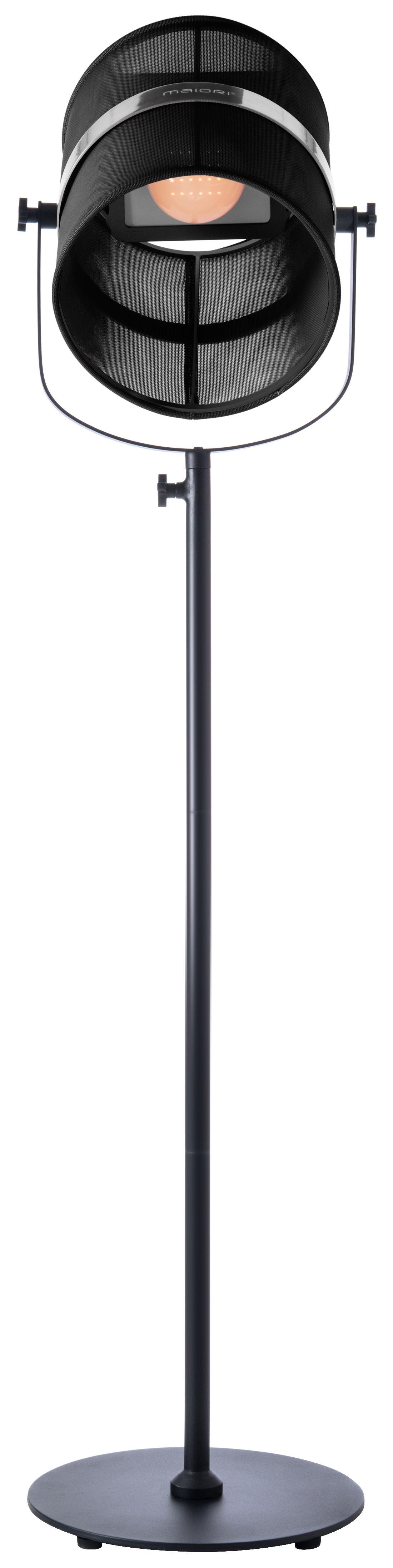 Illuminazione - Lampade da terra - Lampada da terra solare La Lampe Paris LED - / Solare - Senza fili di Maiori - Nero / Piede nero - alluminio verniciato, Tessuto