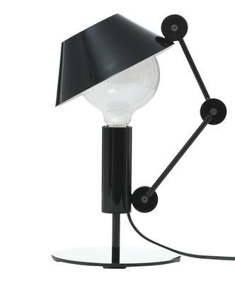 Illuminazione - Lampade da tavolo - Lampada da tavolo Mr. Light short di Nemo - H 36 cm - Nero brillante / Interno del diffusore: bianco brillante - Metallo