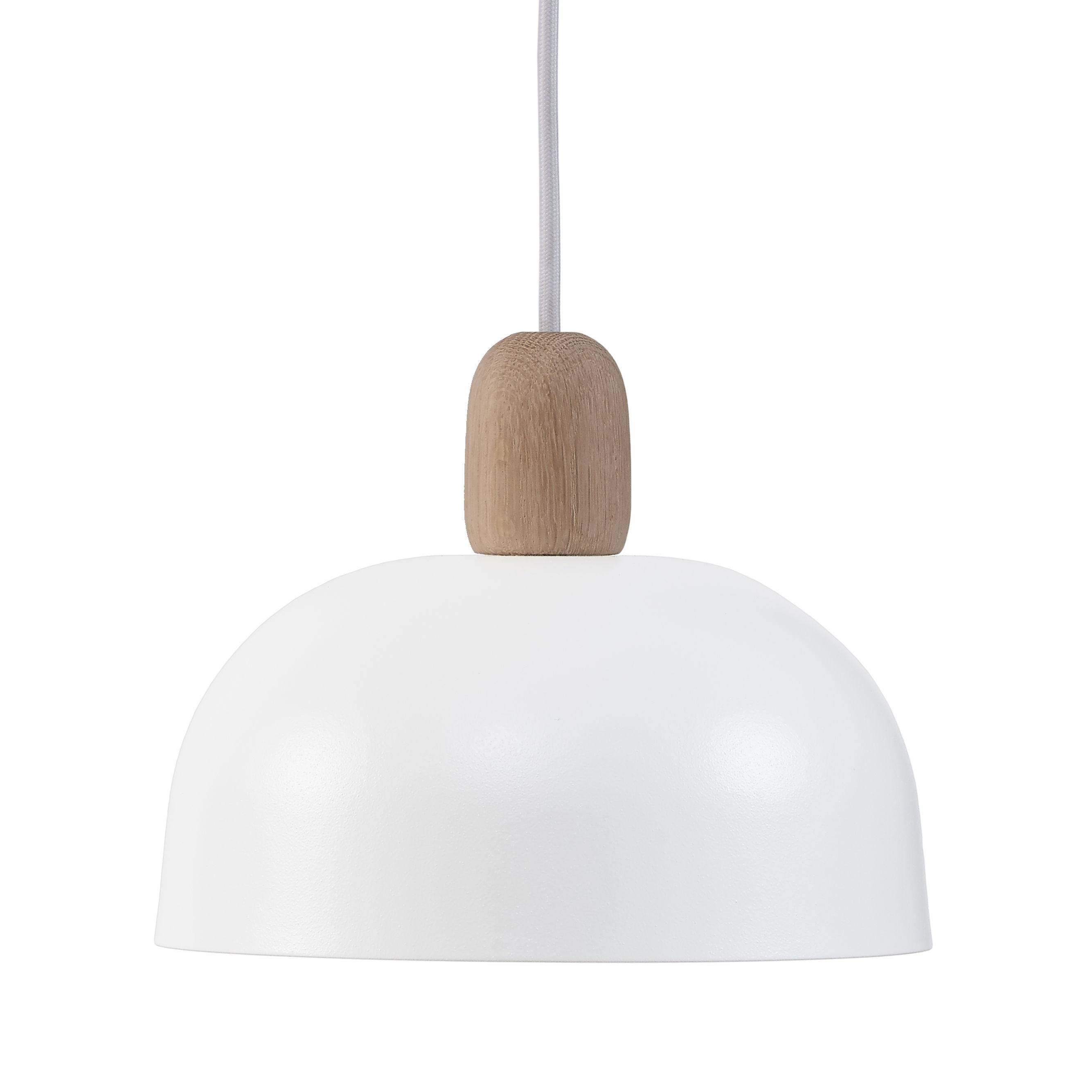 Lighting - Pendant Lighting - Nina Pendant - Oak and metal - Ø 23 cm by Hartô - White & oak - Lacquered metal, Solid oak