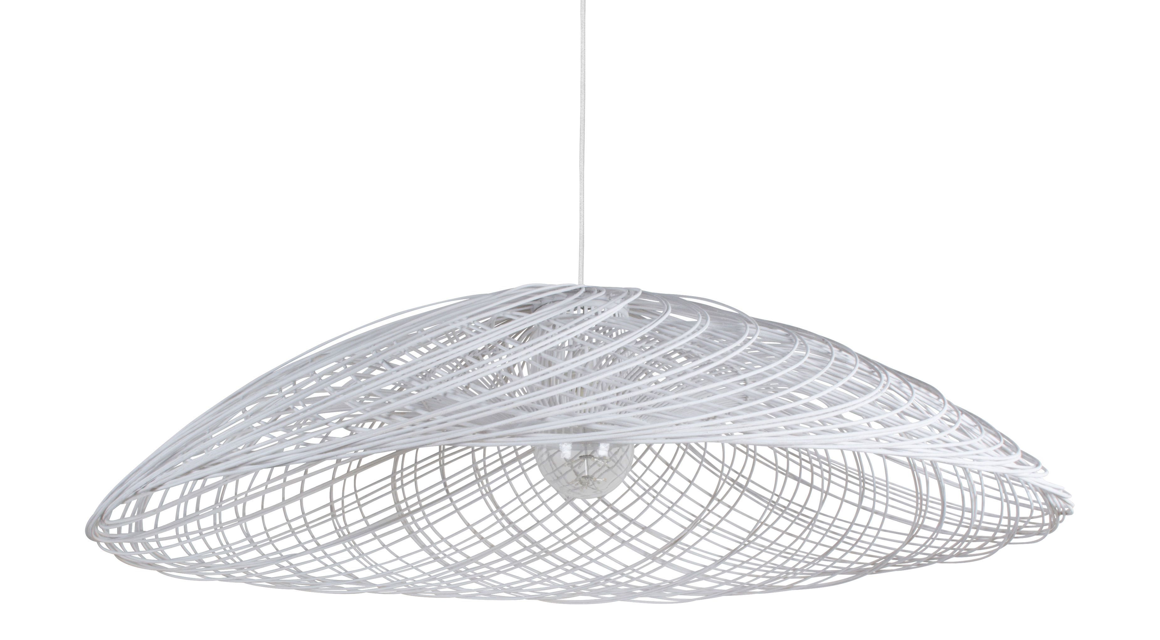 Lighting - Pendant Lighting - Satélise M Pendant - Rattan - Ø 60 cm by Forestier - White - Fabric, Rattan