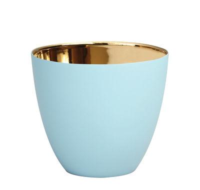 Déco - Bougeoirs, photophores - Photophore Summer Large / H 8 cm - Porcelaine - & klevering - Bleu clair / Or - Porcelaine