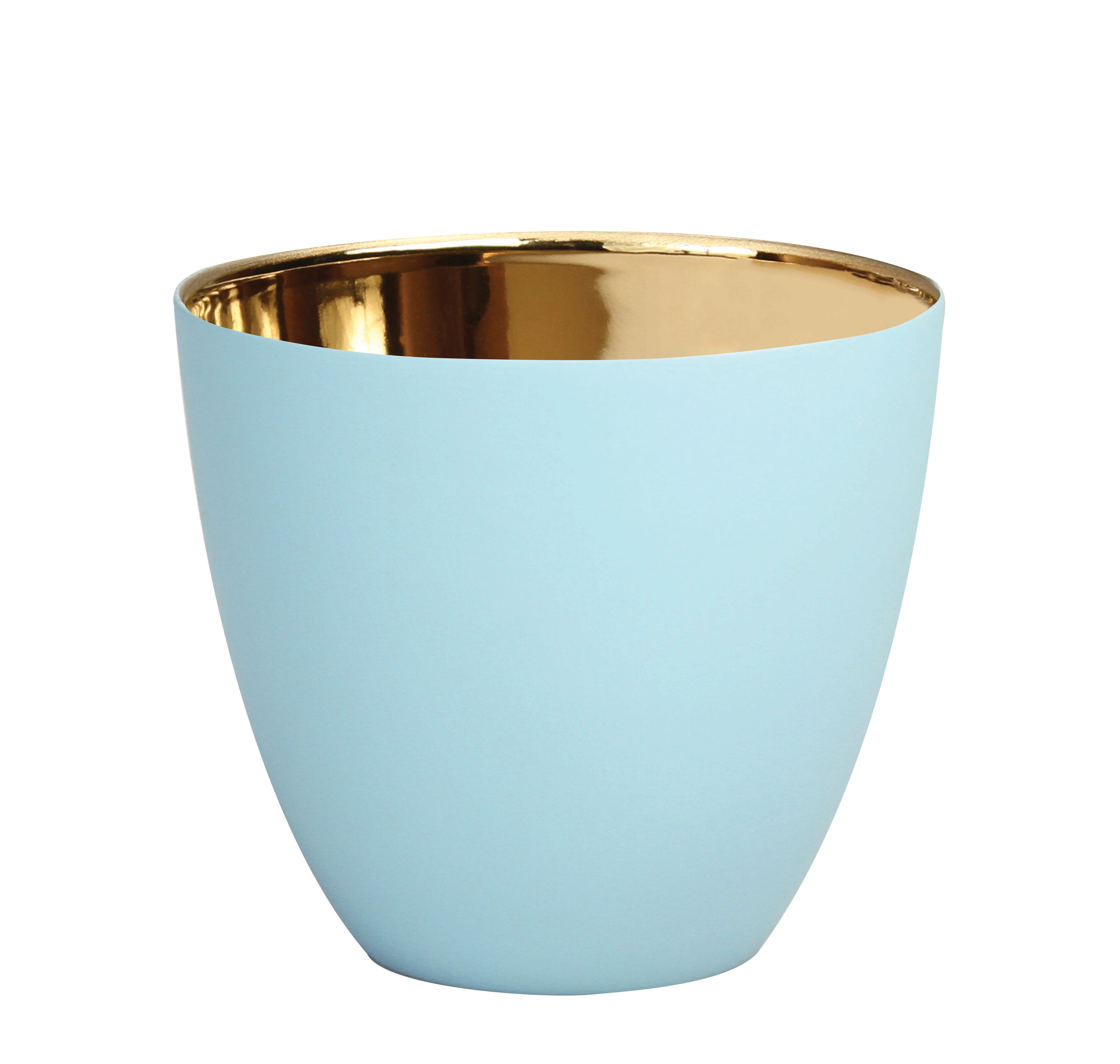 Interni - Candele, Portacandele, Lampade - Portacandela Summer Large - / H 8 cm - Porcellana di & klevering - Bleu clair / Or - Porcellana