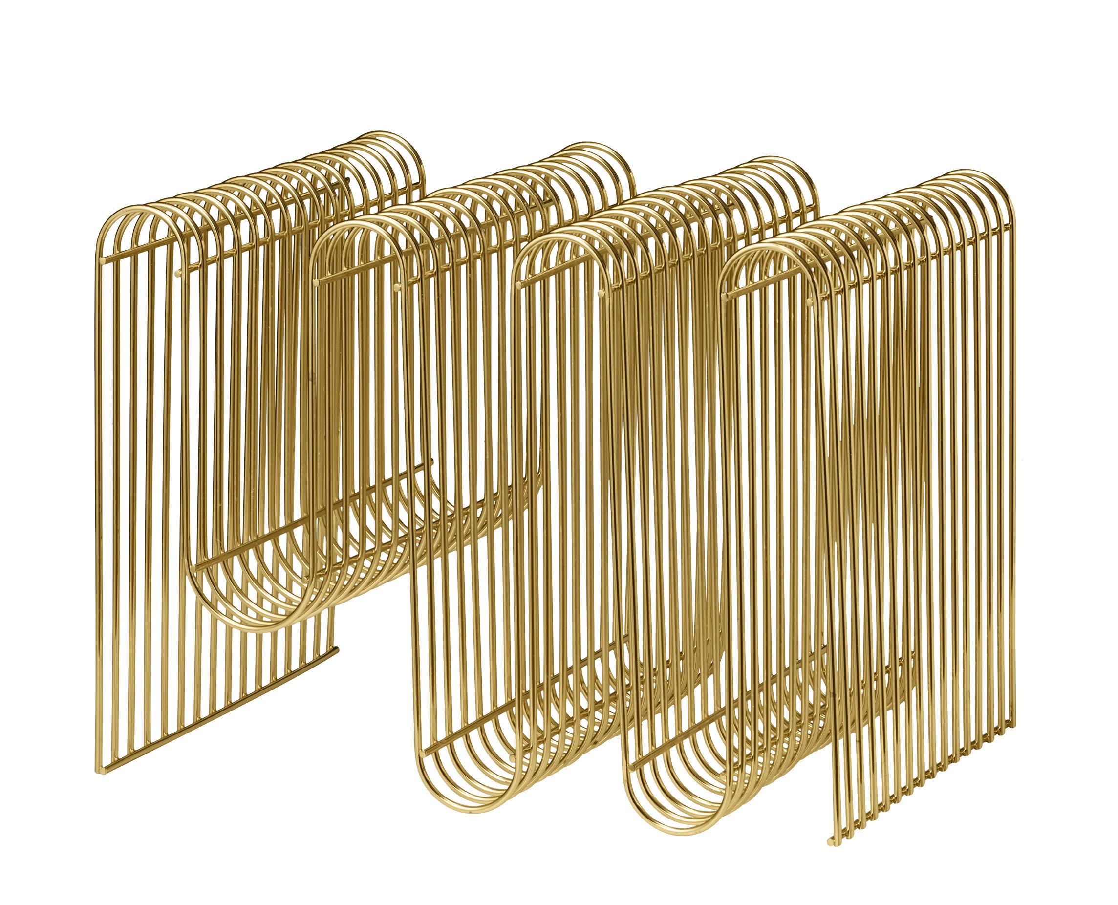 Interni - Contenitori e Cesti - Portariviste Curva - / L 40 x H 30 cm di AYTM - Ottone - Ferro placcato in ottone