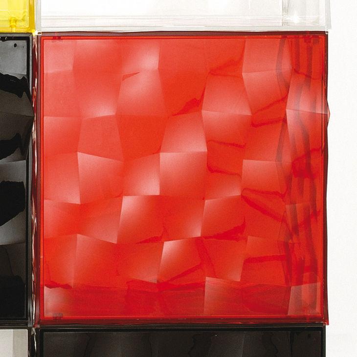 Mobilier - Tables basses - Rangement Optic sans porte - Kartell - Rouge transparent - PMMA
