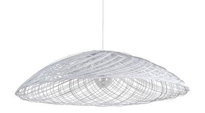 Luminaire - Suspensions - Suspension Satélise M / Rotin - Ø 60 cm - Forestier - Blanc - Rotin, Tissu