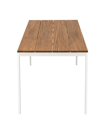 Table rectangulaire be-Easy / Teck - 200 x 79 cm - Kristalia blanc,teck naturel en métal