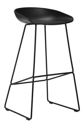 Mobilier - Tabourets de bar - Tabouret de bar About a stool AAS 38 / H 65 cm - Piètement luge acier - Hay - Noir - Acier, Polypropylène