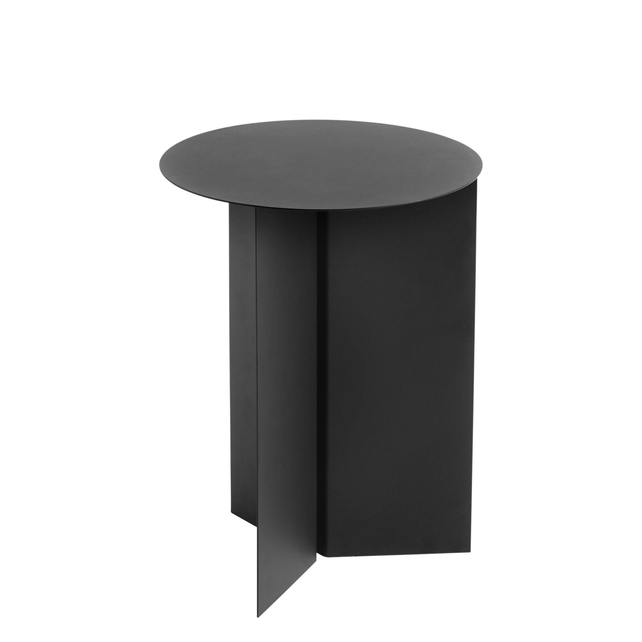 Arredamento - Tavolini  - Tavolino d'appoggio Slit Round - / Alto - Ø 35 X H 47 cm di Hay - Nero - Acier laqué époxy