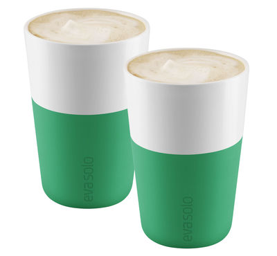 Tavola - Tazze e Boccali - Tazza Cafe Latte - /Set da 2 - 360 ml di Eva Solo - Verde prato - Porcellana, Silicone