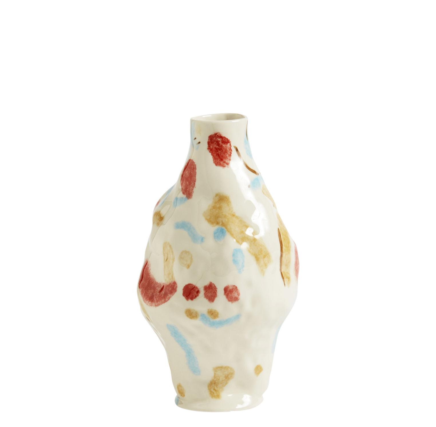 Decoration - Vases - Miro Vase - / Hand-made - Sandstone by Hay - White / Coloured patterns - Sandstone