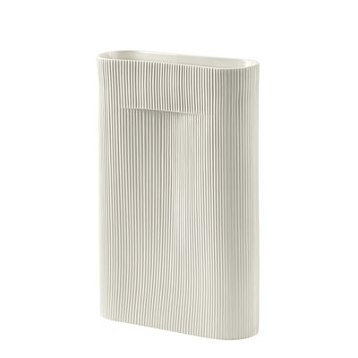 Decoration - Vases - Ridge Large Vase - / H 48 cm by Muuto - Off white - Earthenware