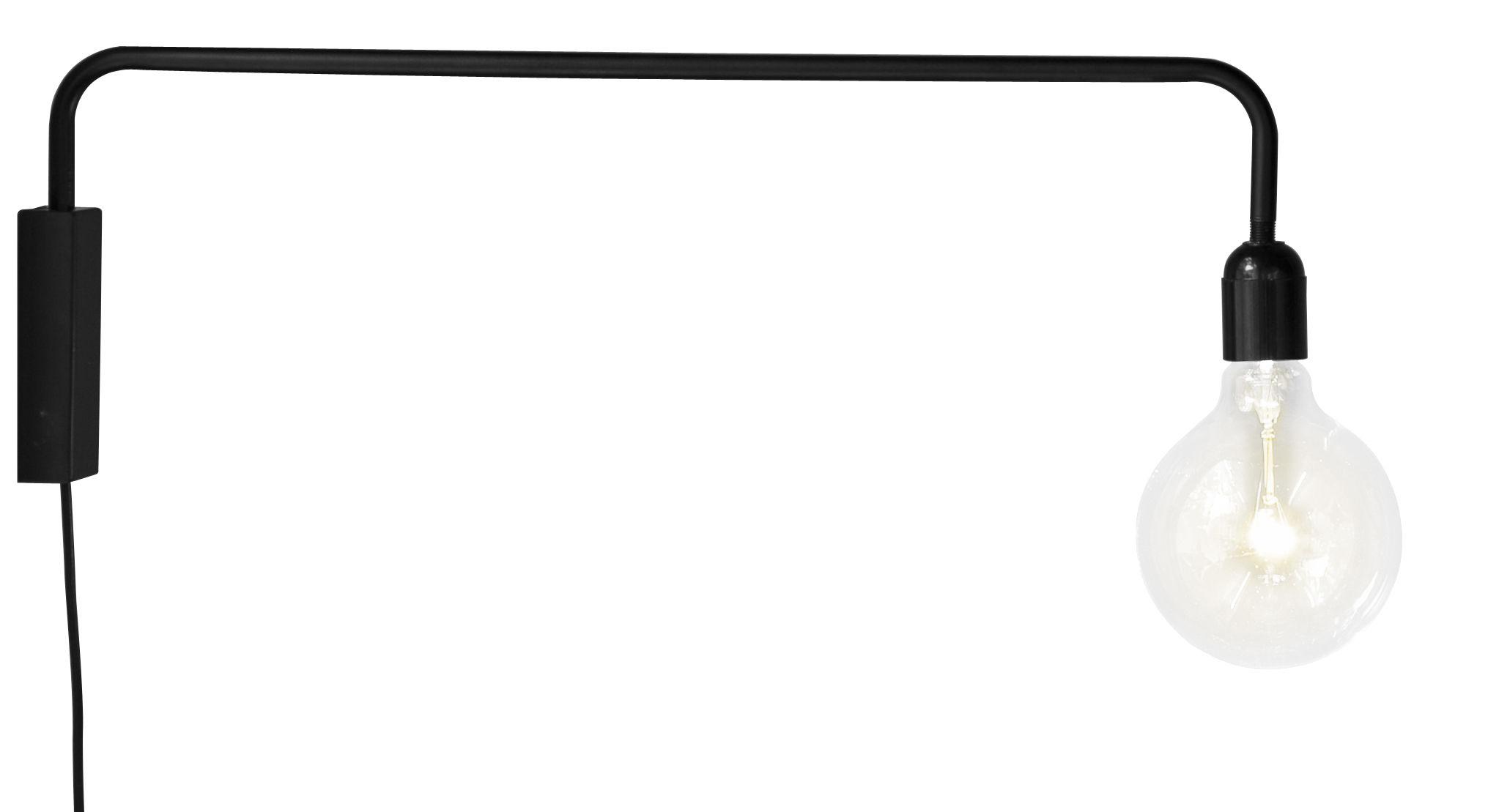 Lighting - Wall Lights - Plok Wall light with plug - / L 60 cm by Sentou Edition - L 60 cm / Black - Matt lacquered metal