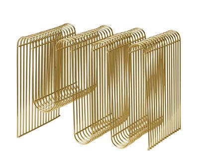 Dekoration - Körbe und Ablagen - Curva Zeitungsständer / L 40 cm x H 30 cm - AYTM - Messing - Eisen, messingplatiert