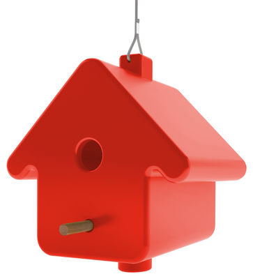 Outdoor - Garden ornaments & Accessories - Picto Nichoir à oiseaux - To hang by Qui est Paul ? - Red - Polythene, Wood