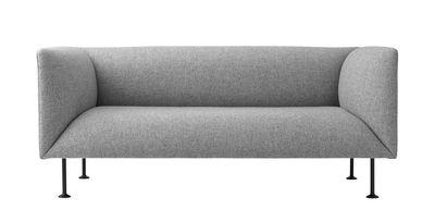 Canapé droit Godot L 162 cm Menu noir,gris clair en tissu