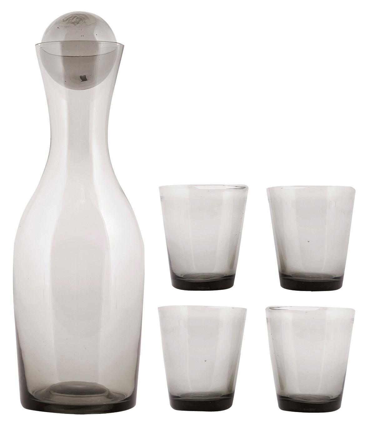 Tavola - Bicchieri  - Caraffa Houston / Set caraffa + 4 bicchieri - House Doctor - Fumé - Vetro