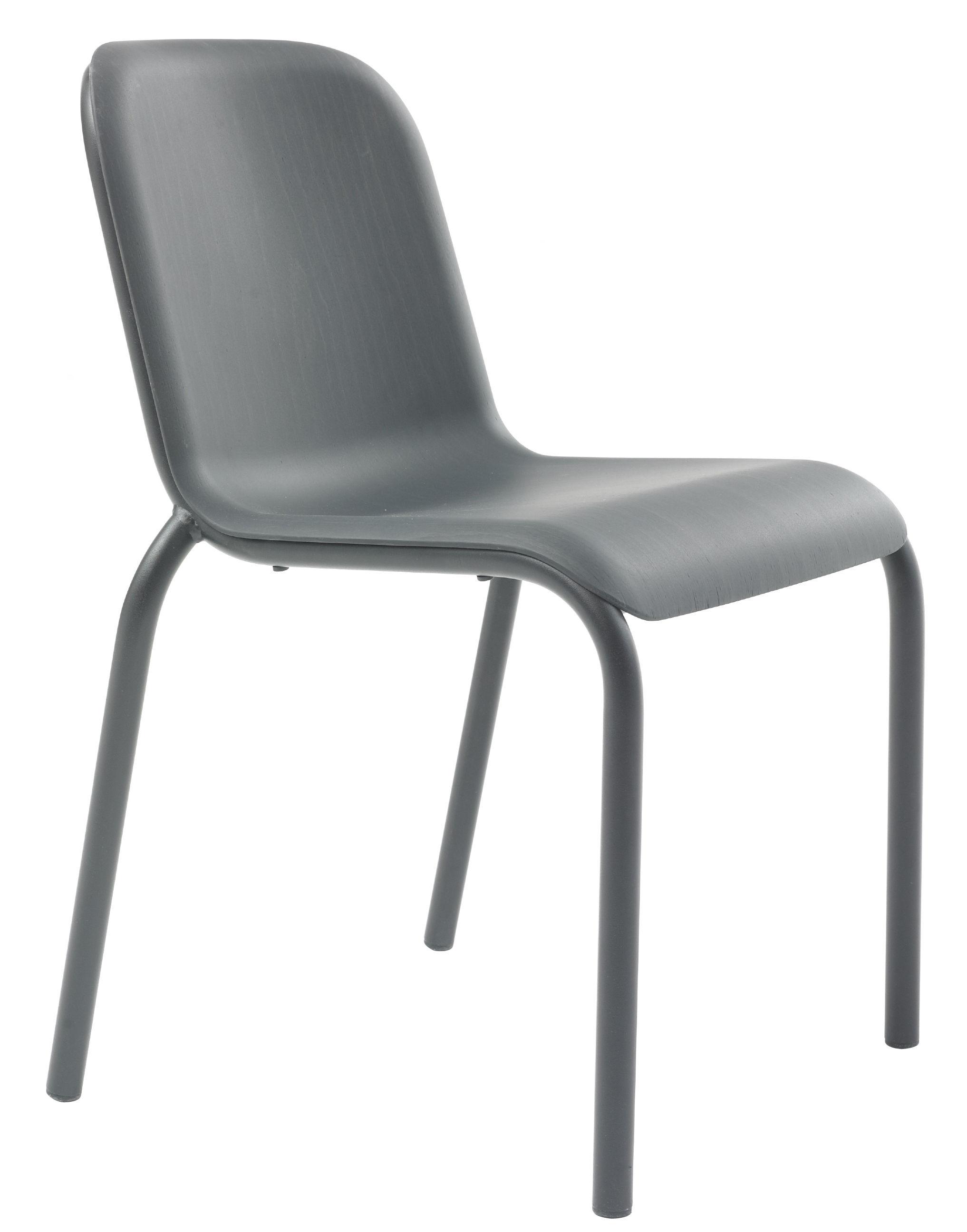 Mobilier - Chaises, fauteuils de salle à manger - Chaise empilable Buzz / Bois teinté - Arco - Noir / Assise : gris foncé - Aluminium laqué, Placage de hêtre
