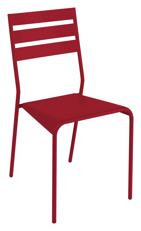 Mobilier - Chaises, fauteuils de salle à manger - Chaise empilable Facto - Fermob - Piment - Acier laqué