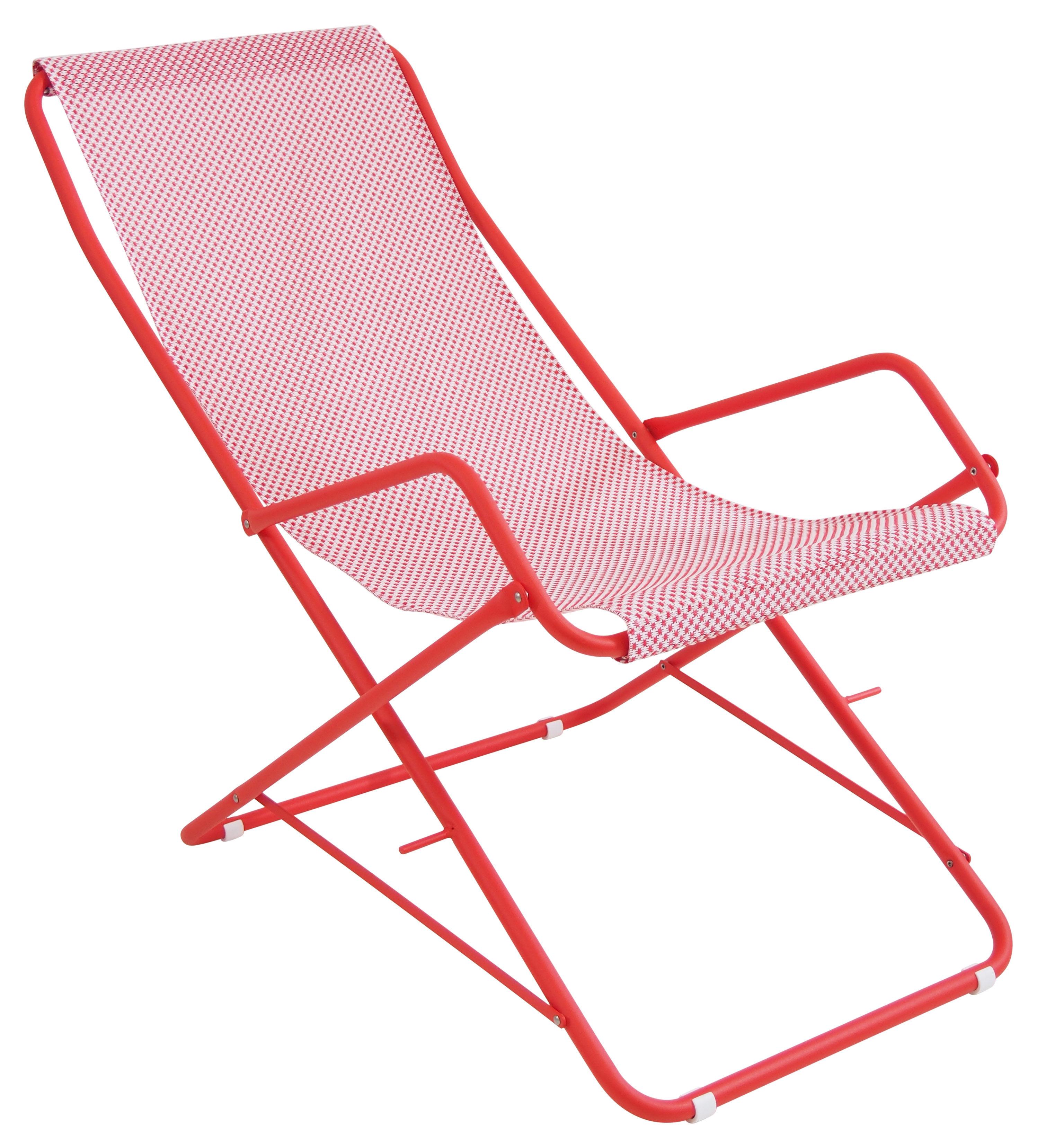 Outdoor - Chaises longues et hamacs - Chaise longue Bahama / Pliable - Emu - Rouge / Structure rouge - Acier verni, Toile