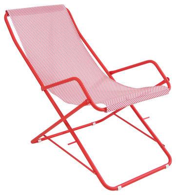 Jardin - Chaises longues et hamacs - Chaise longue Bahama / Pliable - Emu - Toile rouge / Structure rouge - Acier verni, Toile