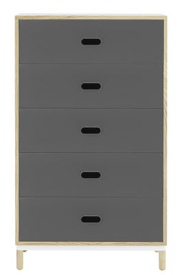 Mobilier - Commodes, buffets & armoires - Commode Kabino / L 74 x H 127 cm - 5 tiroirs - Normann Copenhagen - Gris & frêne - Aluminium laqué, Frêne naturel, MDF