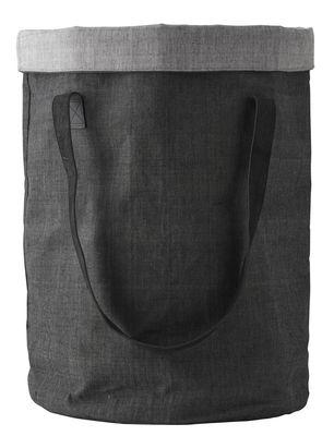Corbeille à linge Cotton Bag Norm Nepal / Poignées en cuir - Menu gris clair,gris anthracite en cuir