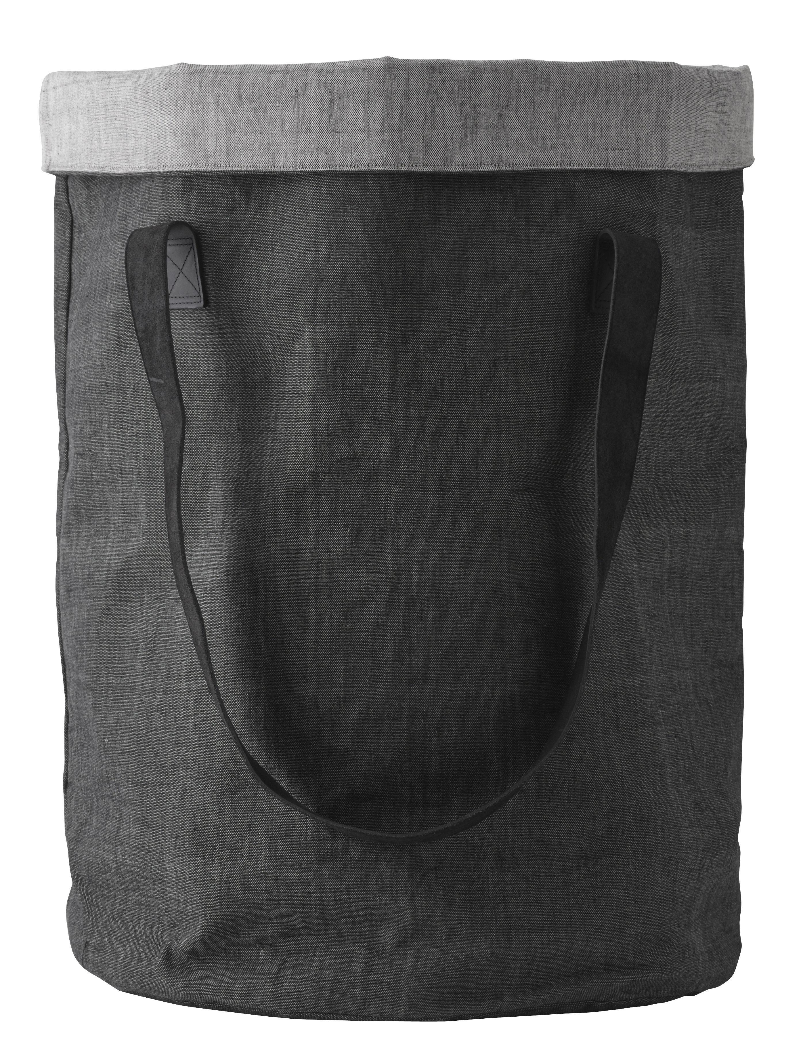 Déco - Paniers et petits rangements - Corbeille à linge Cotton Bag Norm Nepal / Poignées en cuir - Menu - Gris anthracite / Gris clair - Coton, Cuir
