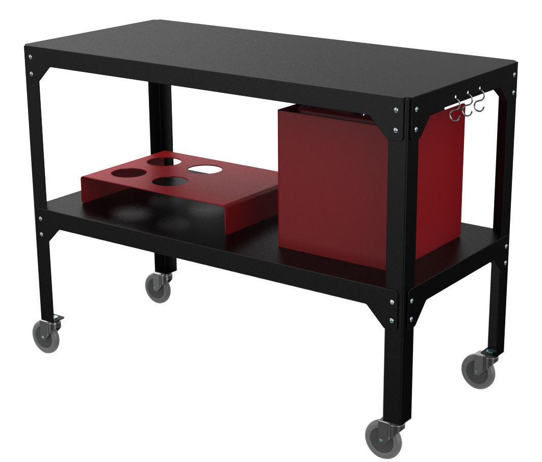Furniture - Miscellaneous furniture - Plancha Hegoa Dresser - Indoor / Outdoor use by Matière Grise - Black / Red - Epoxy painted galvanized steel