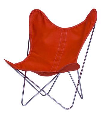 Chaise AA Butterfly toile / Structure chromée - AA-New Design mandarine en tissu