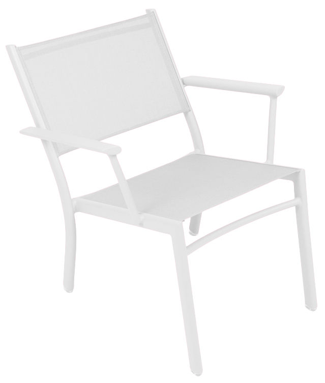 Outdoor furniture materials - Outdoor fabric - Costa Low armchair by Fermob - White - Aluminium, Cloth