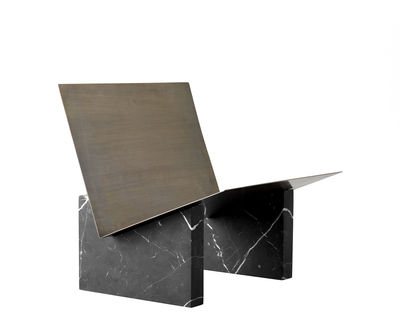 Furniture - Shelves & Storage Furniture - Monuments Magazine holder - / Marble and brass by Menu - Brass / Black marble - Brass, Marquina marble