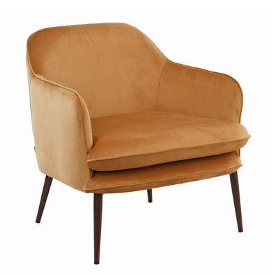 Furniture - Armchairs - Charmy Padded armchair - / Velvet & metal by Pols Potten - Golden yellow - Foam, Metal, Velvet