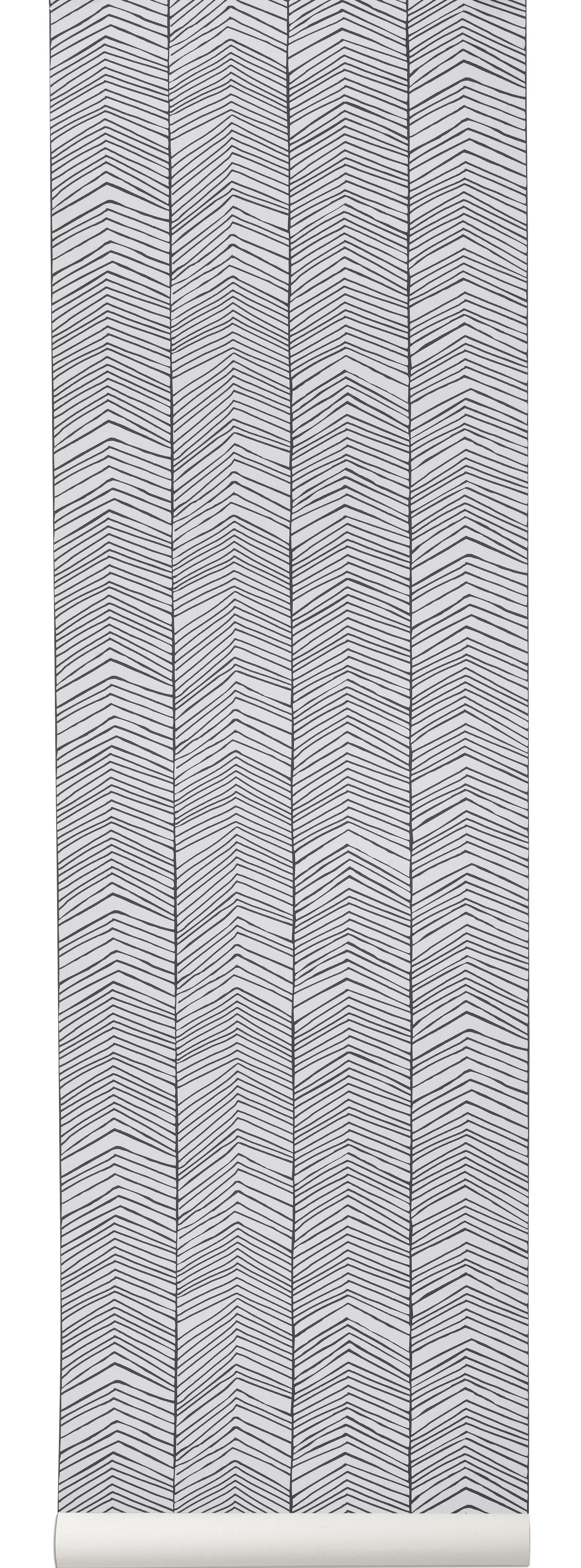 Déco - Stickers, papiers peints & posters - Papier peint Herringbone / 1 rouleau - Larg 53 cm - Ferm Living - Noir & blanc - Toile