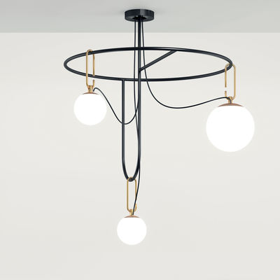 Lighting - Pendant Lighting - nh S4 Circulaire Pendant - / 3 mobile globes -  76 cm x H 107 cm by Artemide - Black / Spheres: white & brass - Blown glass, Brushed brass, Metal