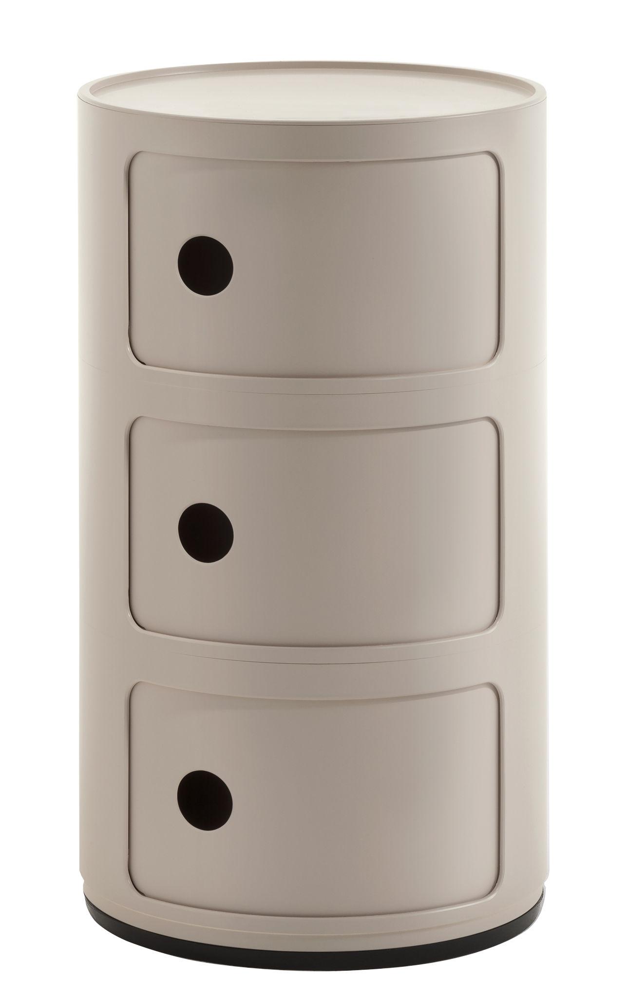 Arredamento - Tavolini  - Portaoggetti Componibili Bio - / 3 cassetti - Materiale naturale & biodegradabile di Kartell - Crema - Bioplastica Bio-On