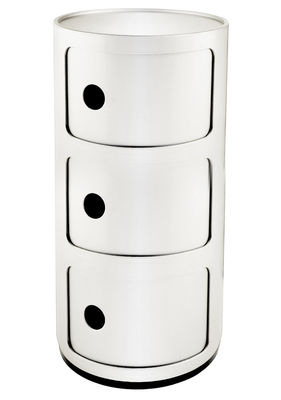 Mobilier - Mobilier Ados - Rangement Componibili / 3 tiroirs - H 58 cm - Kartell - Blanc brillant - ABS