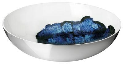 Tischkultur - Salatschüsseln und Schalen - Stockholm Aquatic Salatschüssel / Ø 40 cm x H 11 cm - Stelton - Außenseite metallfarben / Innenseite weiß & blau - Aluminium, emaillierte Keramik