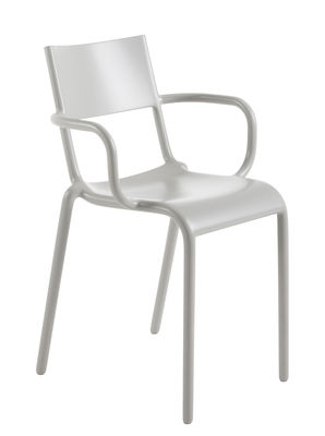 Furniture - Chairs - Generic A Stackable armchair - Polypropylen by Kartell - Grey - Polypropylene