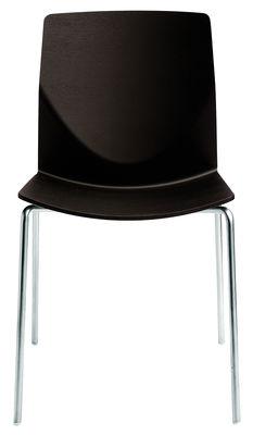 Möbel - Stühle  - Kai Stapelbarer Stuhl - Lapalma - Wenge - lackiertes Eichen-Sperrholz, mattierter Stahl